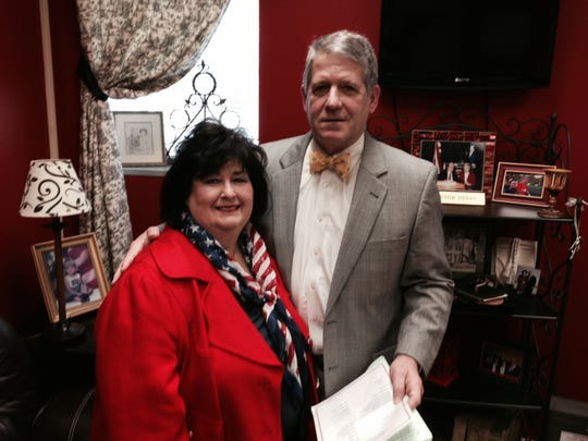 Lin Dyess Stewart poses for a photo with 9th District Judge Tom Yeager shortly before Yeager administered the oath of office as Stewart was sworn in as Rapides Parish registrar of voters on Thursday.