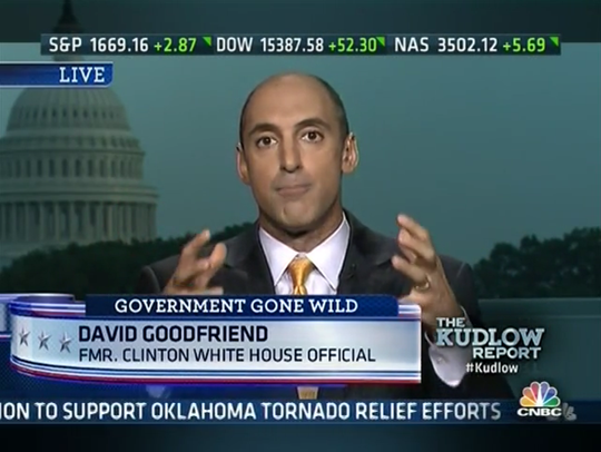 David Goodfriend appears on CNBC on May 21, 2013, defending