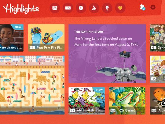 A screen shot of a mock-up of Highlights app