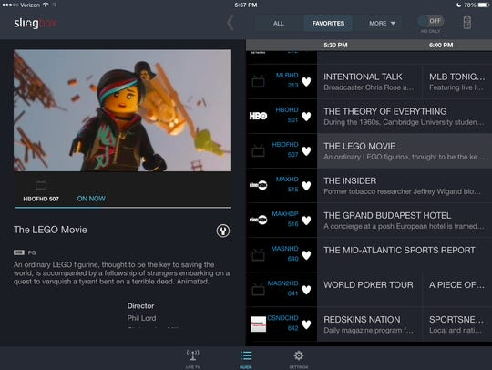 The Slingplayer app for iPad showing the Favorites