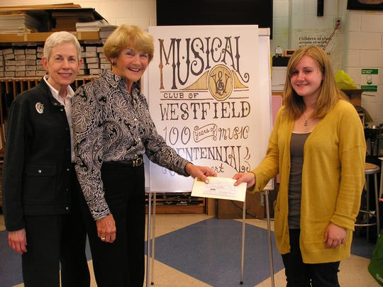 Claudia Savickas, Westfield High School senior wins musical club poster contest. Receiving a $200 prize for the award-winning poster from (l-r) Musical Club of Westfield President Beverly Shea and Scholarship Chair Drude Crane.