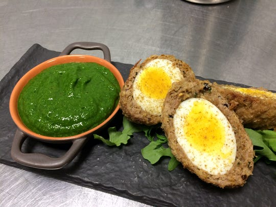 "Nargasi Kofta, or Indian ""Scotch"" eggs, with a coriander and mint chutney from Maneet Chauhan."