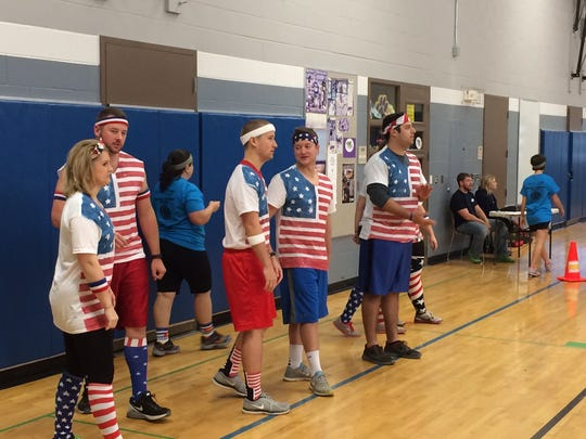 The Star Spangled Ballers dodgeball team, made up of