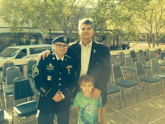 Alexandria Mayor Jacques Roy and his son, Jude-Michael,