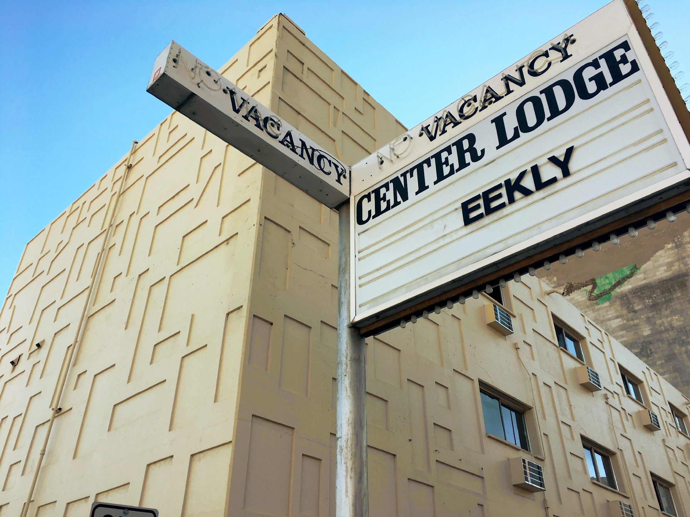 The Center Lodge, a vacant weekly hotel, has been stripped of all value.
