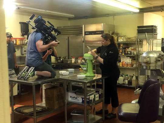 """Purple Palm executive chef Jennifer Town during a filming of Food Network's """"Guilty Pleasures"""" show at the Palm Springs restaurant."""