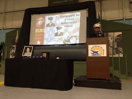 U.S. Marine Corps Brig. Gen. Kevin Iiams spoke during the memorial service for Brig. Gen. Fritz Payne at the Palm Springs Air Museum on Nov. 11, 2015.