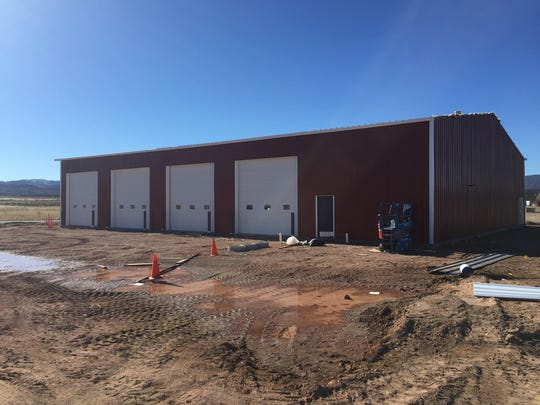 The front of the new Lynn K Bryson fire station in Enterprise is shown Saturday, looking toward the west. The contractor building the station expects to finish work within the next month.