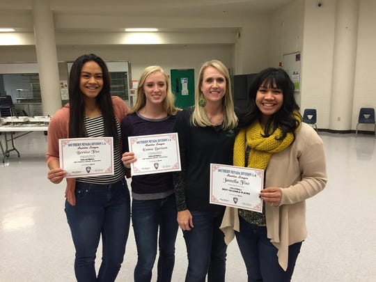 VVHS volleyball members, Bernice Fiso, Emma Barnum and Jannella Fiso hold their first team All-Sunrise Conference awards at a sports banquet last Tuesday.