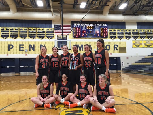 The Central York Panthers pose after winning the Penn Manor tip-off tournament.