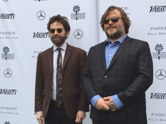 Jack Black (right) presented 'Anamolisa' co-director Charlie Kaufman with the Variety Creative Impact in Directing Award during the Variety awards brunch at the Parker Palm Springs on Sunday, Jan. 3, 2016.
