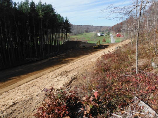 Construction is underway on a realignment of Possum Run Road, to be opened for traffic later this year.