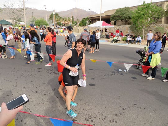 Michelle Blumenfeld was all smiles after completing the Mighty Mujer Triathlon.