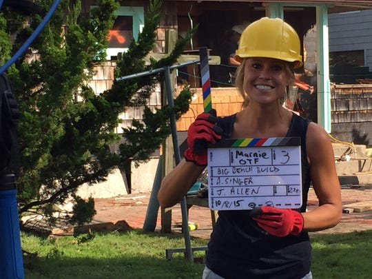"Bethany Beach builder Marnie Oursler is pictured on the set of ""Big Beach Builds,"" during its pilot episode."