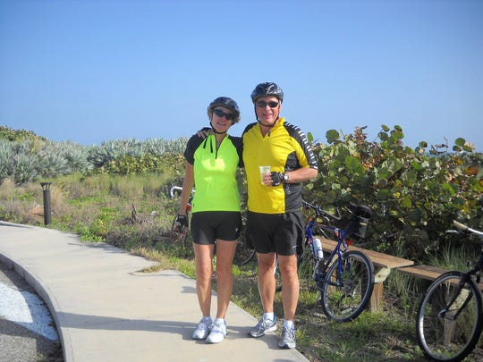 "Skip and Marion Oslwald, of Cocoa Beach, enjoy cycling together several times a week. They also , run, walk and play golf as a couple. ""It has kept us both so healthy,"" said Skip, 64."
