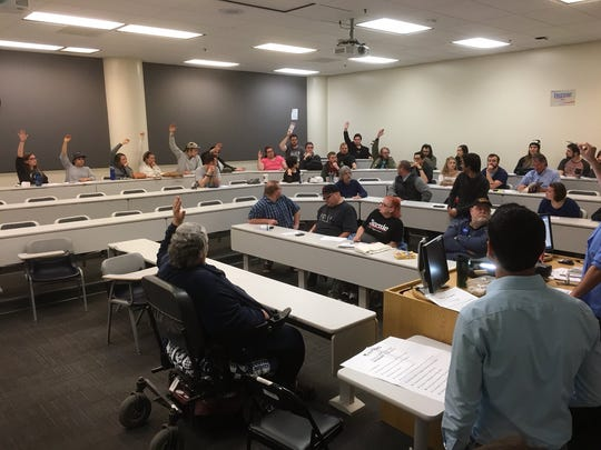 Fifty-two people from precinct 500 showed up to caucus for Democratic candidates Saturday, Feb. 20, 2016 at the University of Nevada, Reno.