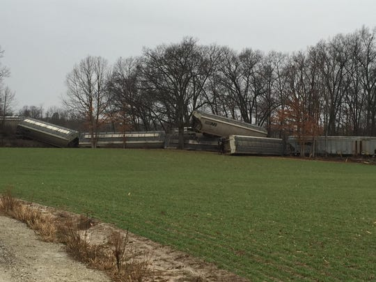 About 23 cars belonging to the Great Lakes Central Railroad derailed around 9:10 a.m. Sunday in Howell Township. No injuries were reported.