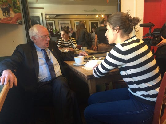 Hannah Salesman, 21, speaks with Democratic presidential