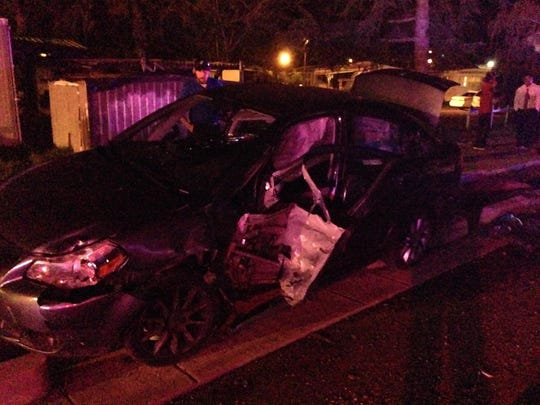 A t-bone crash injured five people Sunday night east of Salem.