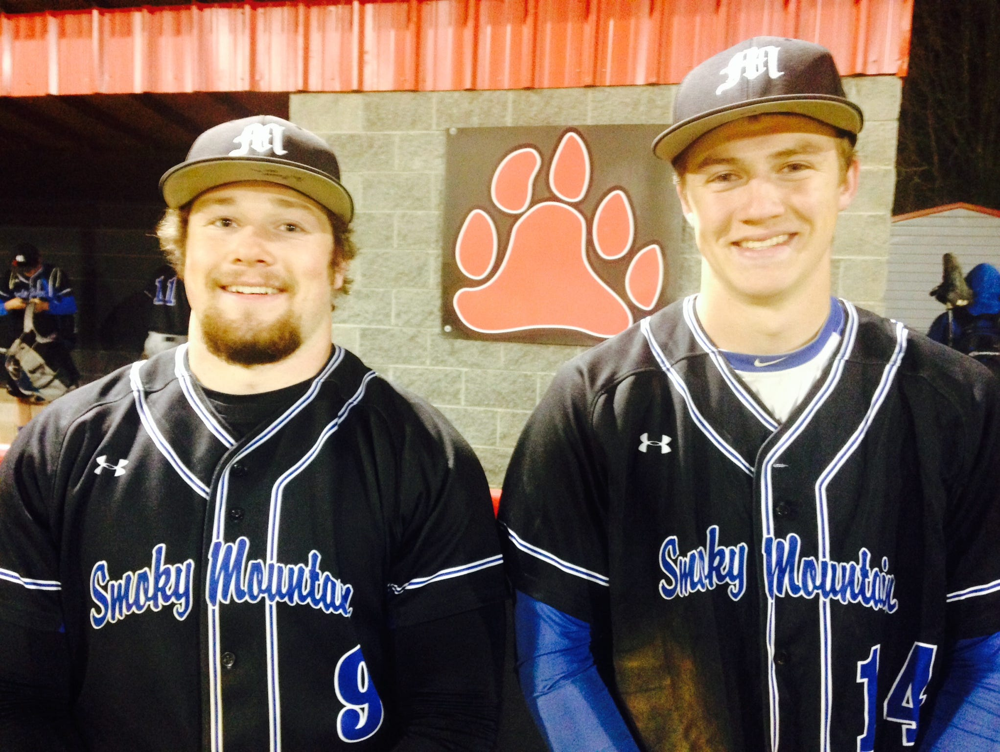 Smoky Mountain's Jacob Gass, left, and Kevin Allred.