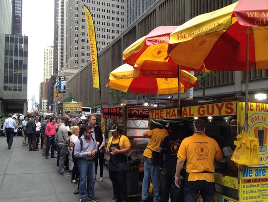 Halal Guy food cart lines can last for hours.