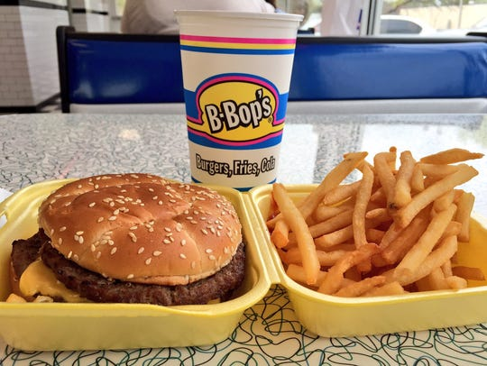 The 1/2 pound cheeseburger meal with a large fry and medium drink from B-Bop's.