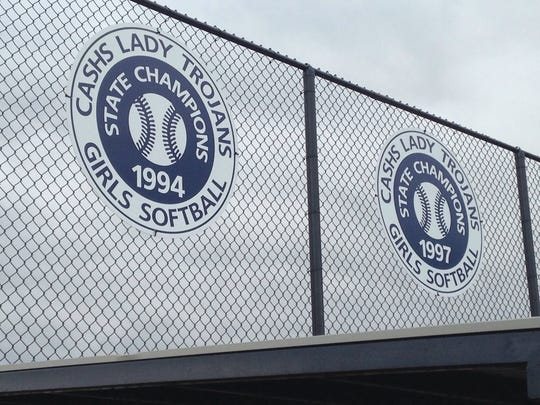 Chambersburg unveiled new signs at its softball complex at Norlo Park on Thursday afternoon's Alumni Day. The signs honor the 1994 and 1997 state championship teams.