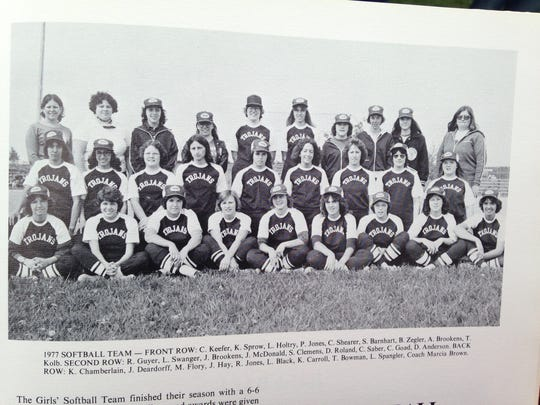 Here is a photo of Chambersburg's second softball team in 1977. At least one member of the squad, Cindy (Keefer) Caldwell, front row, far left, was present on Thursday's Alumni Day.