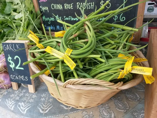 Garlic scapes from Root Bottom Farm.