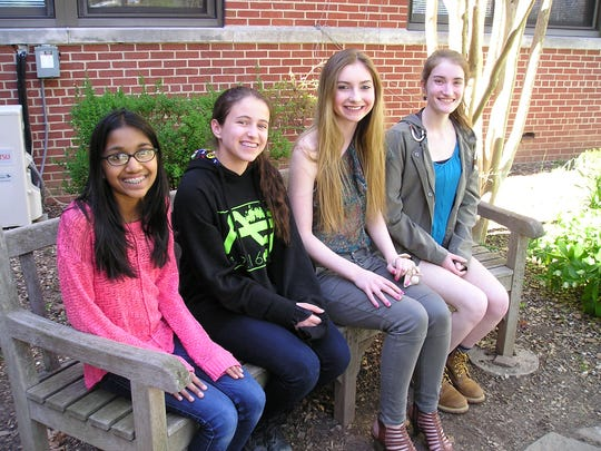 Four Westfield Public School students are recipients of the 2016 Scholastic Art and Writing Awards in the northeast region.  They include (l-r) Mira Mehta, 8th grader at Edison Intermediate School, who received a Silver Key for her short story; and Westfield High School students Casey Cohen, 9th grader, who earned a Gold Key for poetry; Paige McCann, a senior, receiving Honorable Mention for poetry; and senior Sarah Boyle, who was awarded a Gold Key for short story and writing portfolio, and Honorable Mention for flash fiction.