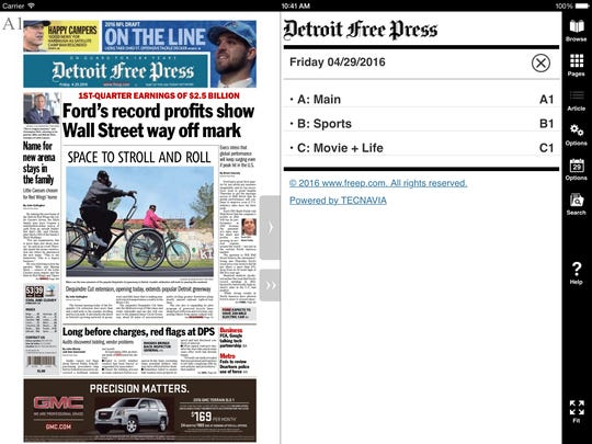 Navigating is made easy with the new e-edition from the Detroit Free Press.