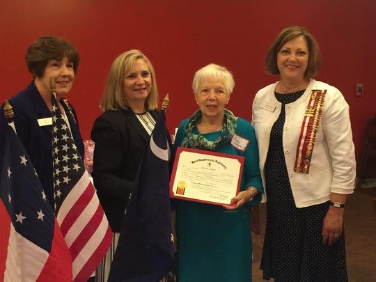Left  to right - UDC President Judy Allen, Dawn Carter (daughter of award recipient,) Terry Morgan (sister of award recipient,) and Recorder of Military Awards Candice Morgan.