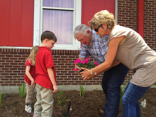 Parents and grandparents were invited to the Grand Opening to plant flowers with their child. This was a huge success and will be an ongoing Community project for years to come. Teachers will use this area for outdoor science learning experiences.