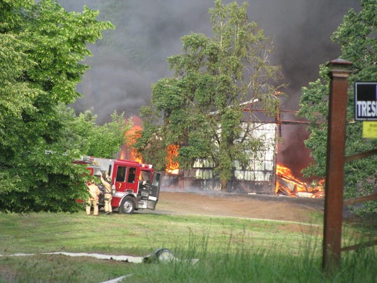 Emergency crews are responding to a fire on Liberty Road S on Tuesday, May 31, 2016.