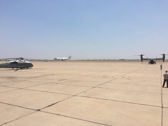 Air Force One lands at the Roswell airport.