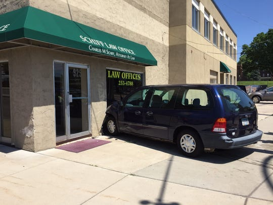 A van struck a law office at 925 First St. S on Sunday afternoon.