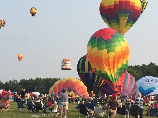Hot air balloons ascend at the 2015 Ashland Balloonfest. This year's event takes place from Thursday through Saturday at Freer Field.