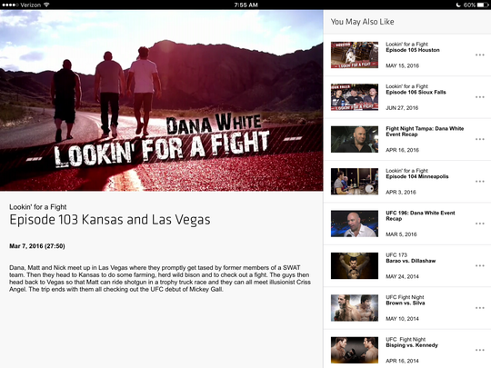 A screen shot of the UFC Fight Pass app showing available