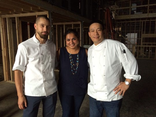 Alex Sidorov, left, Maneet Chauhan and Chris Cheung