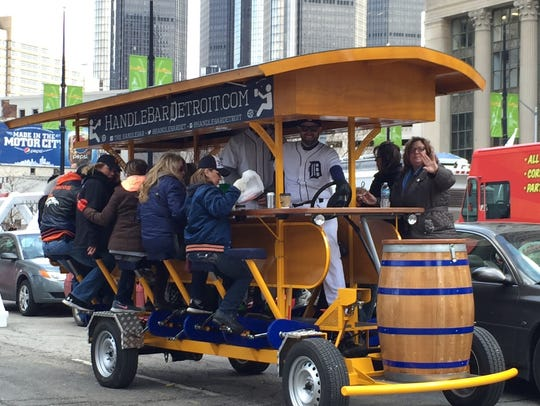 Riders enjoy The HandleBar on Detroit Tigers opening