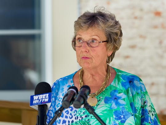 Smyrna Mayor Joanne Masten speaks at a press conference Wednesday about the expansion of the state Downtown Development District program. Symrna is one of eight towns that will compete for about $7.9 million in funding this fall.