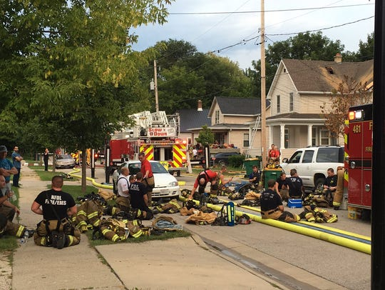 In all about 50 firefighters from multiple departments