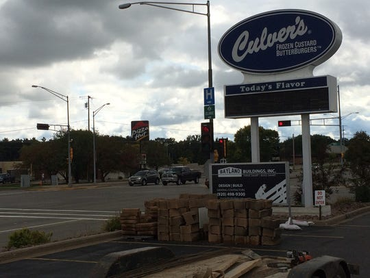 The Culver's sign on the west side of Culver's in Marshfield.