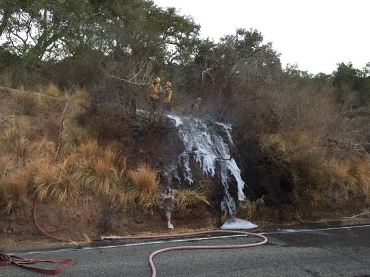 Ventura County firefighters responded to a small brush fire near Lake Casitas Wednesday morning