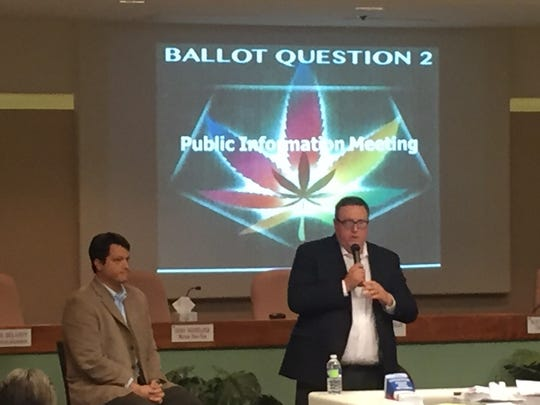 Joe Brezny (seated) and Jimmy Stracner speak in Mesquite about Ballot Question 2 legalizing recreational marijuana in this October file photo.