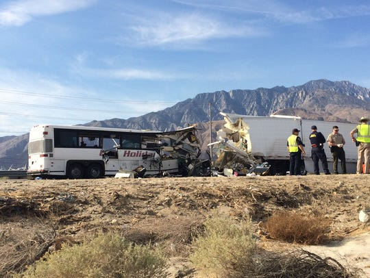 A tour bus and big rig crashed on I-10 Sunday morning,