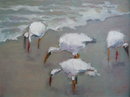 """Cloudy Day Naples Beach,"" by Sigrid Mucci, oil on canvas, from the ""It's Nature's Way"" exhibition"