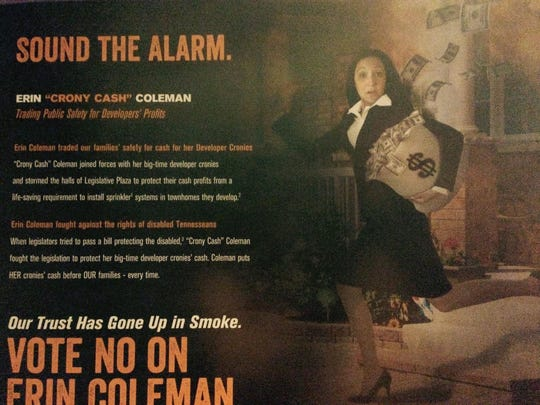 Democrat Erin Coleman has alleged this mail-piece,