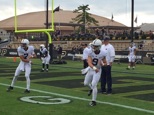 Penn State quarterback Trace McSorley warms up before Saturday's game against Purdue.