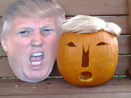 "A ""Trumpkin"" submitted by Carol King for the #valleypumpkin"